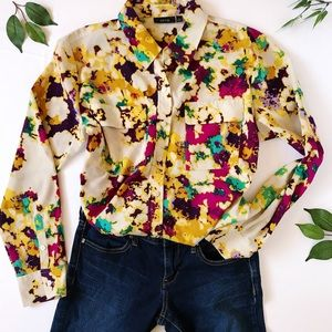 Apt 9 multi color pocket button down blouse